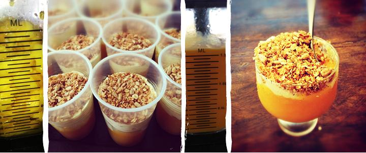 Verrines de mangue, crème à la vanille et crumble de muesli